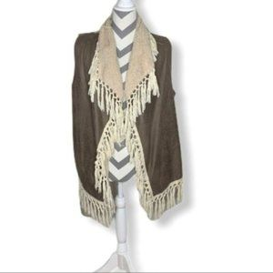 🦄 Entro Fringed Vest Fuzzy Inside Small Tan Taupe